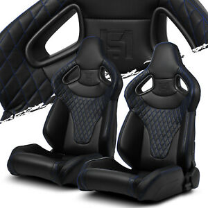 Black W Blue Stitching C Series Pvc Reclinable Left Right Racing Seats Pair