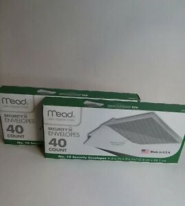 Mead 10 Letter Security Envelopes Seal Mailing 4 1 8 X 9 1 2 White 80 Count