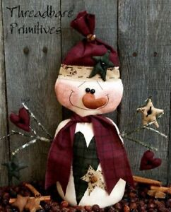 Pattern Primitive Stumpy Christmas Snowman Doll W Stars Hearts Ornies Tbp
