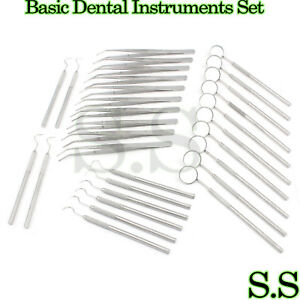 45 Instruments Basic Dental Set Mirror Explorer College Plier Economy Grade New