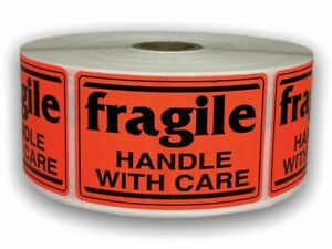 100 Labels 2x3 Br red Fragile Handle With Care Shipping Mailing Warning Stickers