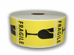 1000 Labels 2x3 Yellow Broken Glass Shipping Mailing Fragile Warning Stickers