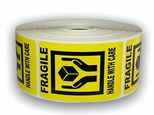 1000 Labels 2x3 Yellow Fragile Hand Holding Box Shipping Mailing Warning Sticker