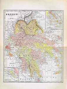 Greece Antique Color Map 1897