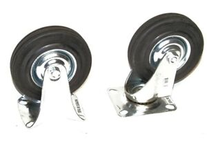 4pc 6 Caster Wheels 2 Swivel Base With Bearings 2 Fixed Base Hard Rubber Wheels