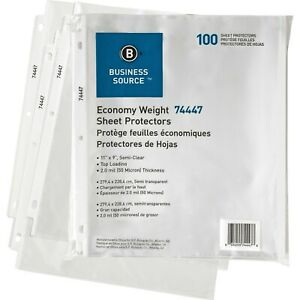 Sheet Protectors For Unpunched Sheets Clear 100 Pack