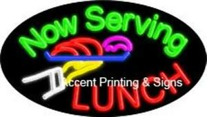 Now Serving Lunch Glass Handcrafted Flashing Neon Sign