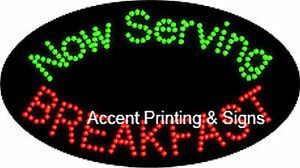 Now Serving Breakfast Flashing Animated Real Led Sign