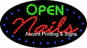 Open Nails Flashing Animated Real Led Sign