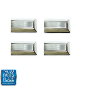 1970 77 Oldsmobile Cutlass 88 Door Strap Pull Metal End Caps Chrome Set Of 4