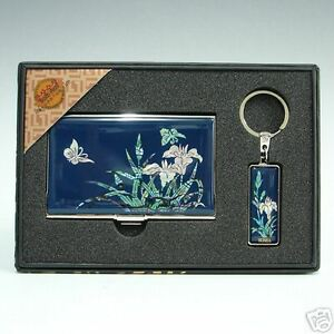 Mop Blue Orchid Business Credit Name Id Card Case Key Chain Ring Holder Gift Set