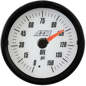 Aem Analog Oil Pressure Gauge 150psi 30 5135w