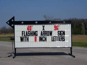 New Flashing Portable Outdoor Lighted Arrow Business Sign W 8 Letters 40 x96