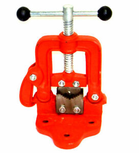 Bench Pipe Vise Yoke Hinged Clamp On Type Pipe Threader Plumbing Vice Tools 1