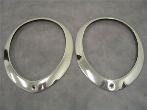 1939 Ford Deluxe Polished Stainless Headlight Head Lamp Ring Rim Pair