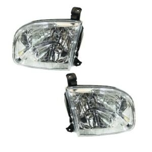 New Pair Of Headlights Right Left Fits 2001 2004 Toyota Sequoia