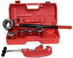 Pipe Threader Ratchet Type With 5 Dies And Pipe Cutter Plumbing Hand Tools Set