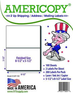 Americopy 1000 Half Sheet Shipping Labels Sheet 8 5 X 5 5 Packs Of 200