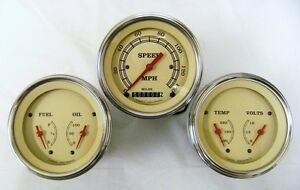 Vintage Series 3 Gauge Set 3 3 8 Speedometer 2 Dual Gauges W Curved Lenses