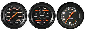 Velocity Black Series 3 Gauge Set 3 3 8 Speedometer Tachometer 140 Mph