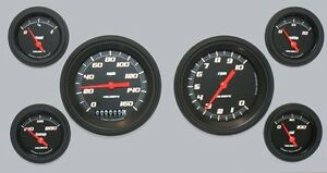 Velocity Black Series 6 Gauge Set 3 3 8 Speedometer Tach 140 Mph 10 000 Rpm