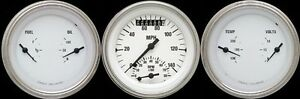 White Hot Series 3 Gauge Set 3 3 8 Ultimate Speedometer Tach 140 Mph Hot Rod