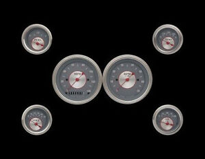 Silver Series 6 Gauge Set 3 3 8 Speedometer Tachometer With Curved Lenses
