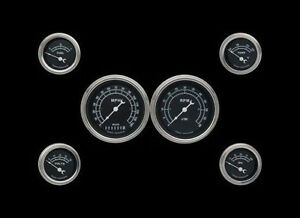 Traditional Series Black 6 Gauge Set 3 3 8 Speedometer Tach W Curved Lenses