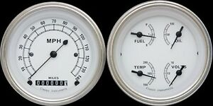 Classic White Series 2 Gauge Set 3 3 8 Speedometer W Curved Lenses 140 Mph