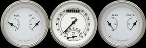 Classic White 3 Gauge Set 3 3 8 Ultimate Speedometer Tach Combo W Curved Lenses