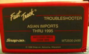 Snap On Mt2500 Mtg2500 Scanner 1995 Asian Imports Troubleshooter Cartridge 2495