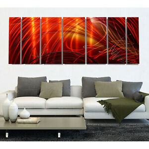 Huge Contemporary Hand Painted Red Metal Wall Art Office Decor Tail Spin Ii Xl