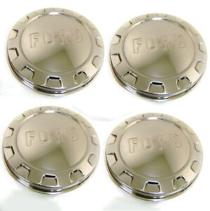 1961 1966 Ford Pickup Truck Polished Stainless Hubcap Set Of Four 4