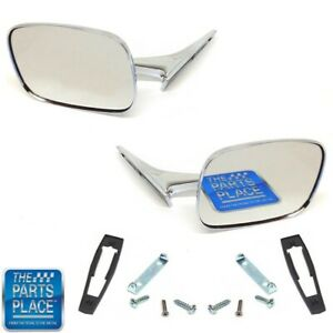 1970 72 Chevrolet Monte Carlo Stock Rectangular Chrome Mirror Set