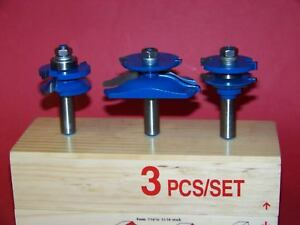 3 Pc 1 2 Shank Carbide Tipped Panel Cutter Router Bit Set Woodworking Tool