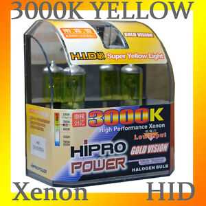 H4 9003 Golden Yellow 3000k Xenon Hid Halogen Headlight Bulbs Low High Beam
