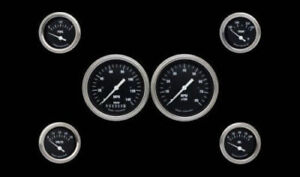Hot Rod Series 6 Gauge Set 3 3 8 Speedometer Tach W Gold Bezels