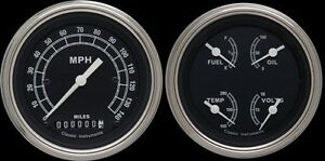 Traditional Series 2 Gauge Set With Gold Bezels Flat Lenses 3 3 8 Speedometer