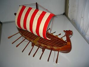 Viking Dragon Boat High Quality Hand Made Wooden Model Ship 24
