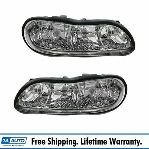 Headlights Headlamps Left Right Pair Set New For Chevy Malibu Olds Cutlass