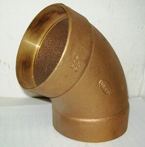 4 Nibco Brass Bronze Plumbing C X C Female Solder 60 Degree Dwv Elbow