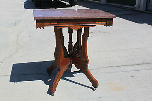 Walnut Victorian Aesthetic Period Marble Top Parlor Table Ca 1880