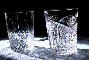 Two Cut Glass Tumblers 1 In Diamond Fan Pattern And 1 Libbey Signed Tumbler