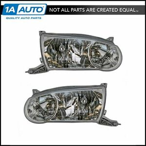 Headlights Headlamps Left Right Pair Set New For 01 02 Toyota Corolla
