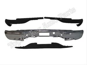 For 99 07 Silverado sierra Stepside Rear Bumper Face Bar Chr Top Center Pad 4p