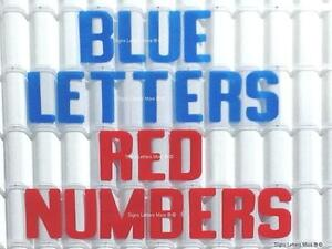 8 Inch Flexible Plastic Outdoor Marquee Sign Blue Letters Red Numbers 300 Count