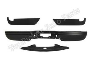Black paintable Rear Bumper Bar Top Lower Pads 4pc For 97 03 F150 Styleside