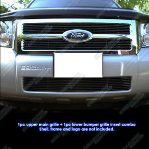 Fits 08 12 2011 2012 Ford Escape Black Billet Grille Grill Combo Insert