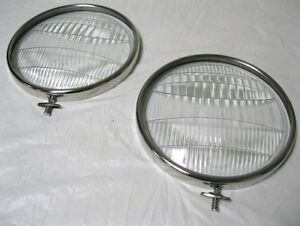 1933 1934 Ford Car Pickup Truck Glass Headlight Lenses Ss Headlight Rims Pair