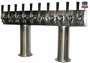 Stainless Steel Draft Beer Tower Made In Usa 10 Faucets Air Cooled Ptb 10ss
